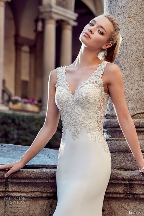 V-neckline embellished strap wedding dress with an embellished bodice