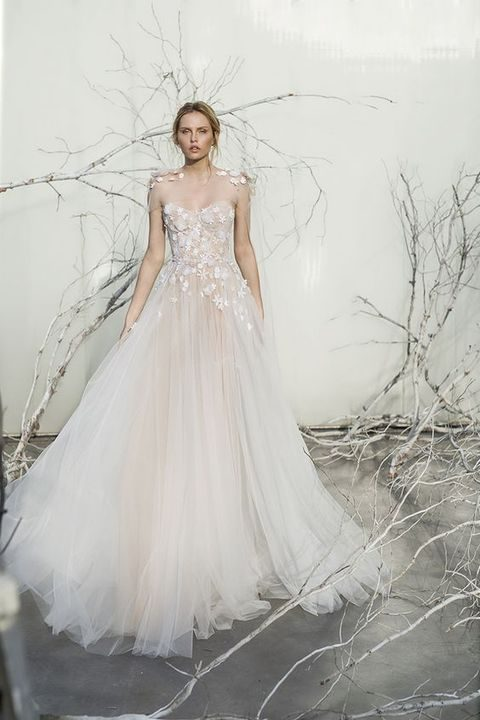 aethereal blush wedding dress with illusion shoulders and lace appliques