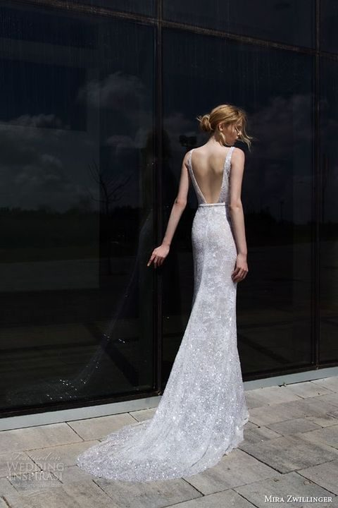 backless embellished wedding dress with straps