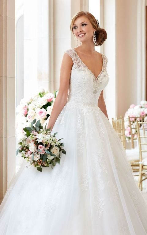 beaded lace ball gown with embellished straps