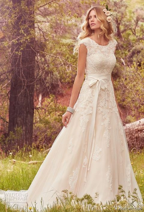 bridal cap sleeves jewel neckline heavily embellished bodice romantic A line wedding dress, Maggie Sottero