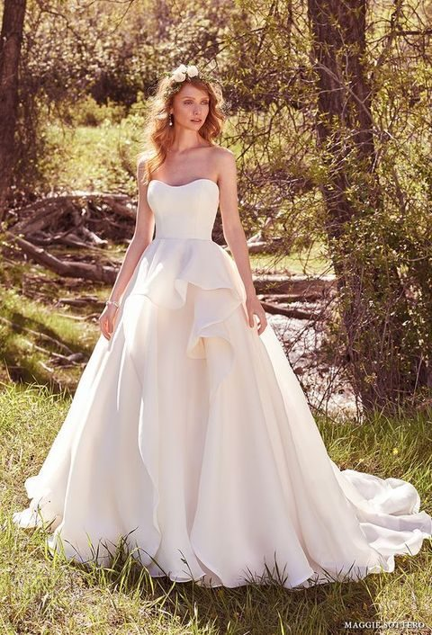 bridal strapless semi sweetheart neckline simple clean bodice romantic ball gown