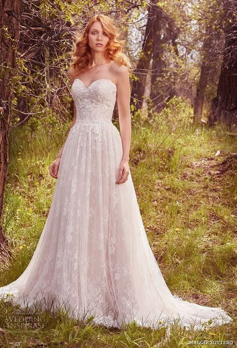 bridal strapless sweetheart neckline full embellishment romantic A-line wedding dress