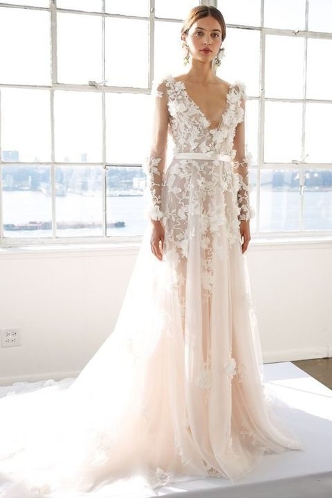 deep V-neck blush wwedding dress with floral appliques, Mira Zwillinger