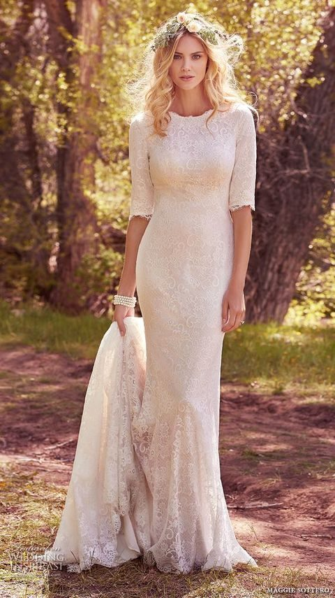 half sleeves jewel neckline full embellishment conservative sheath wedding dress by Maggie Sottero