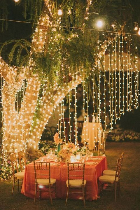 hanging lights will spruce up any reception