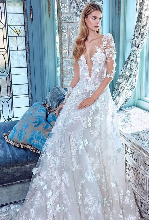 illusion long sleees deep V-neck A-line lace wedding dress by Galia Lahav
