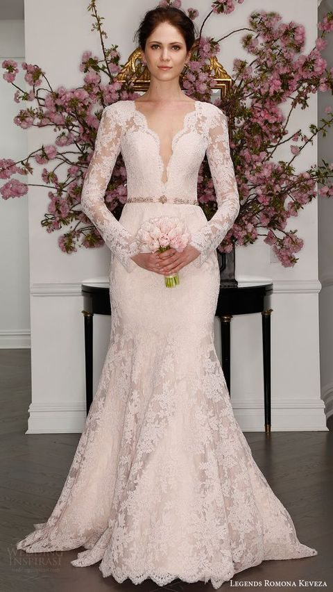 illusion long sleeves deep V blush lace trumpet wedding dress, Romona Keveza