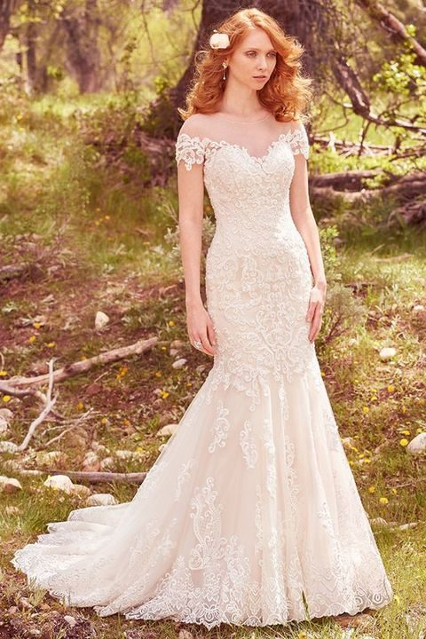 illusion neckline off the shoulder lace wedding dress