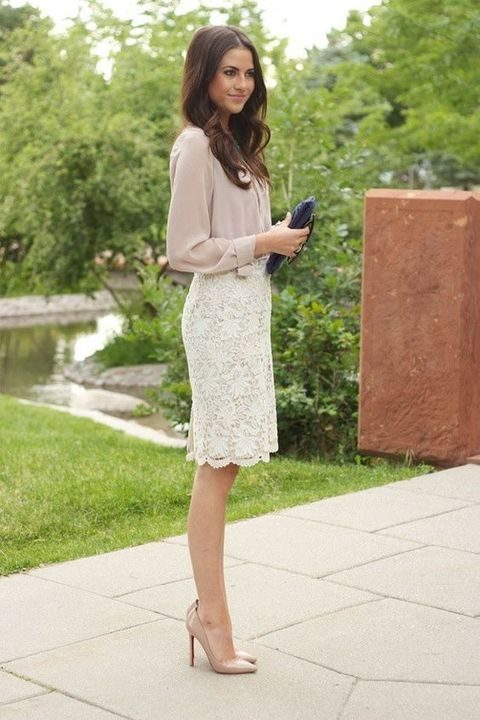 ivory lace skirt, a blush shirt and nude heels
