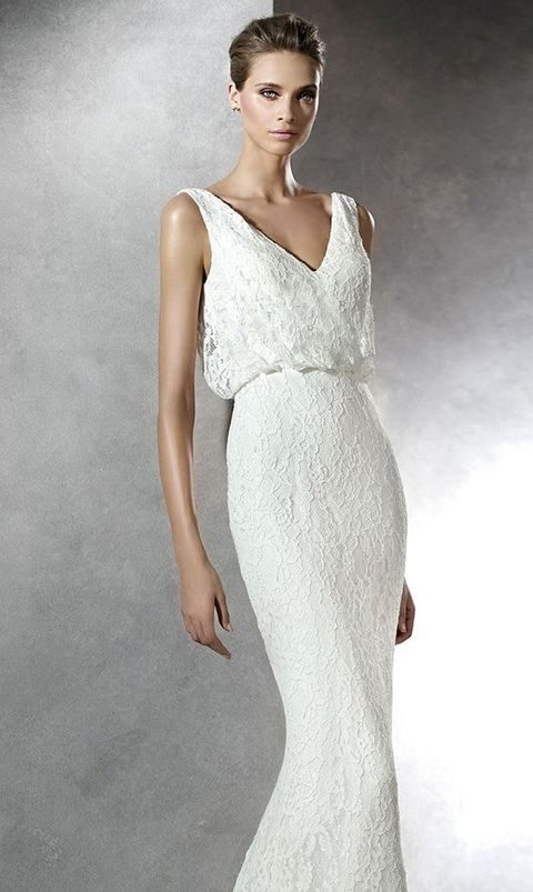 lace V-neck wedding dress with a draped top