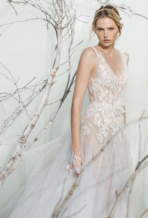 leaf lace appliques deep V-neck blush wedding dress