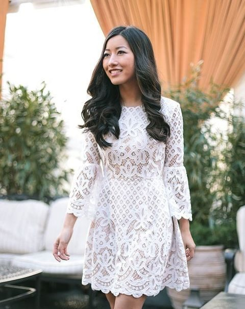 long sleeve white lace dress with a boho feel