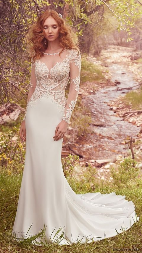 long sleeves illusion bateau sweetheart neckline heavily embellished bodice elegant sheath wedding dress