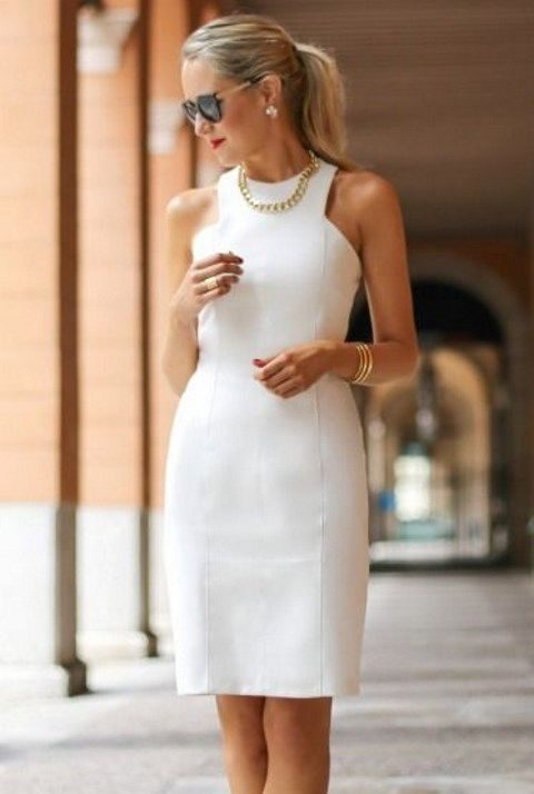 modern white sheath dress