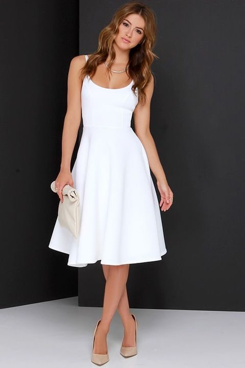plain white midi dress with spaghetti straps