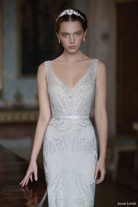 sleeveless embellished sheath wedding dress with a V-neck
