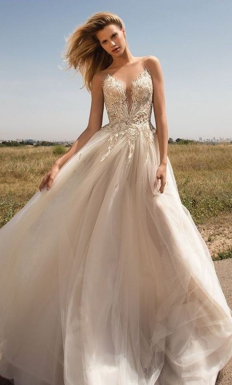 sleeveless illusion embellished bodice sweetheart A-line wedding dress