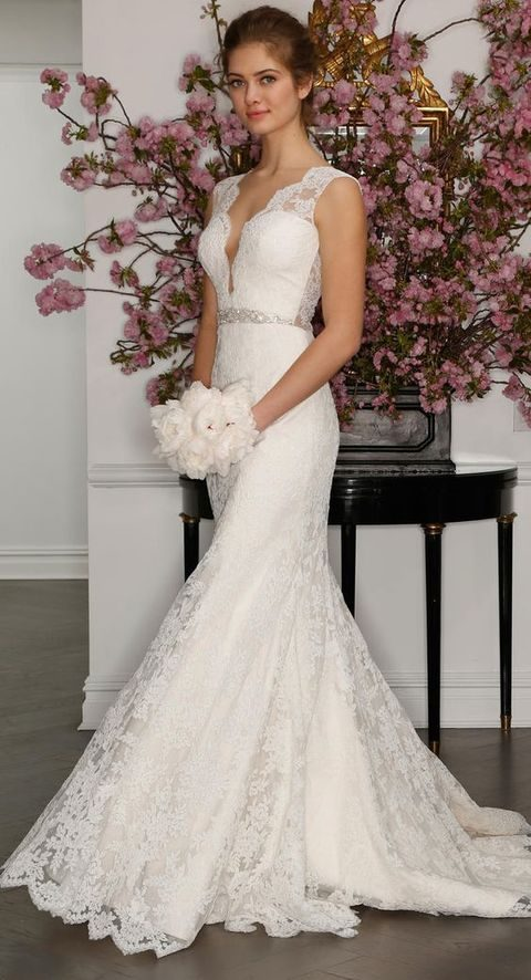 sleeveless ivory wedding dress with plunging neckline, lace illusion back and beaded belt, Romona Keveza