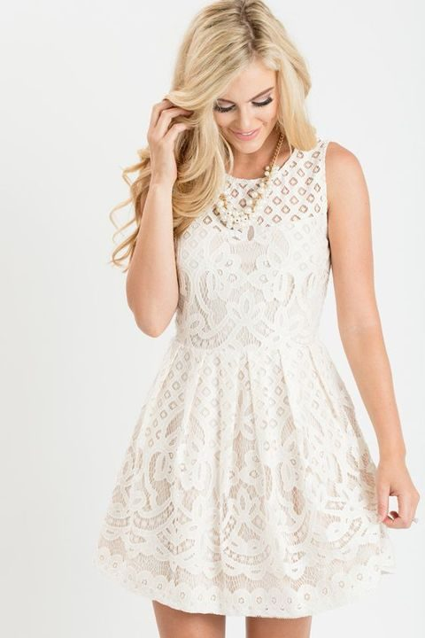 sleeveless lace white mini dress