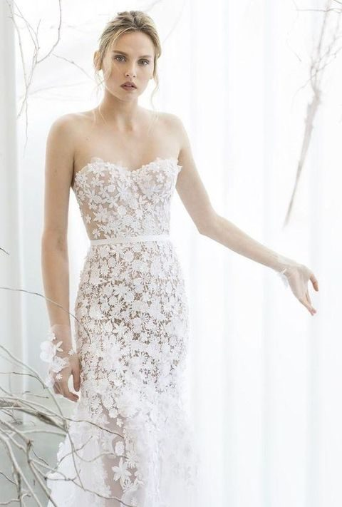 strapless floral lace wedding dress