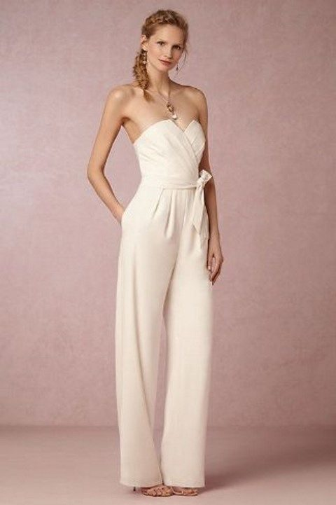 strapless ivory jumpsuit with wide pants