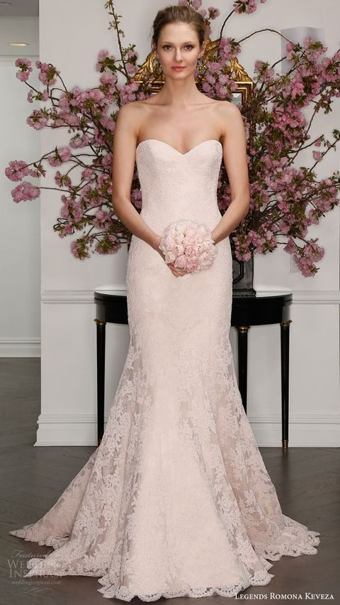 strapless sweetheart lace trumpet wedding dress in blush