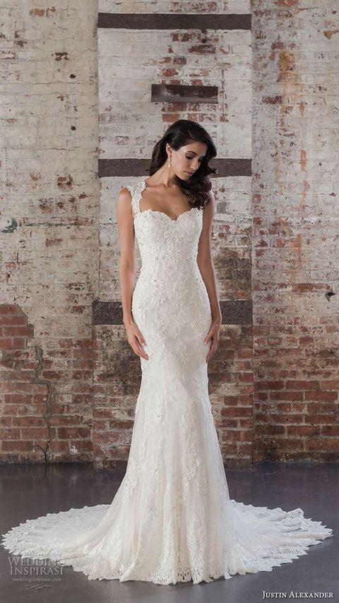 sweetheart neckline full embellishment elegant fit and flare wedding dress