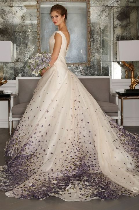 wedding ball gown with an embellished train