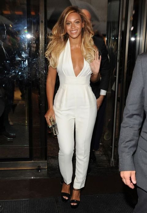 white deep cut halter jumpsuit rocked by Beyonce is a great idea