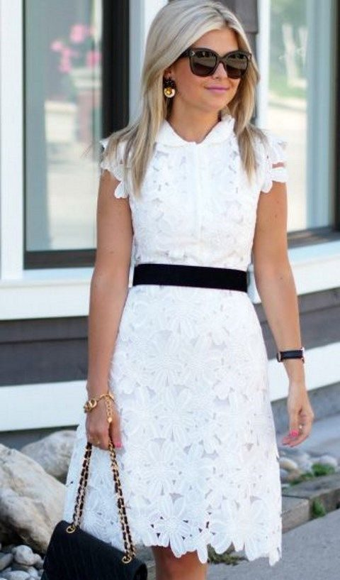 white lace applique midi dress with black accesssories