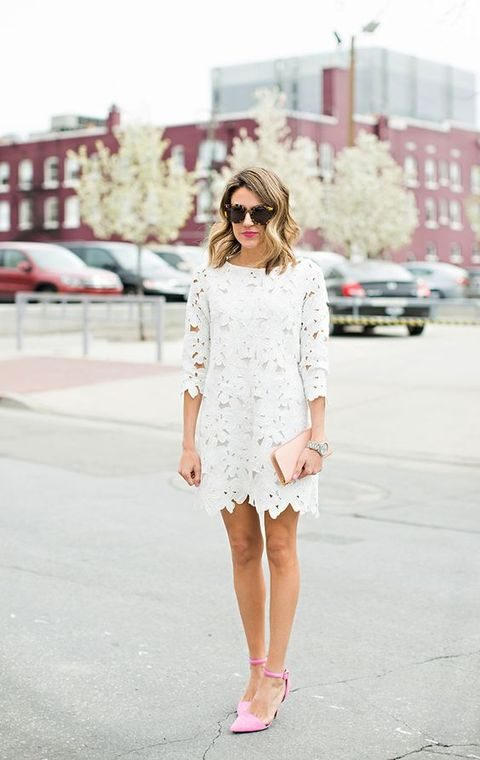 white lace applique mini dress with half sleeves