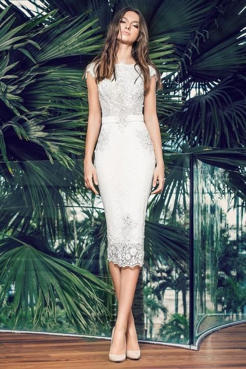 white lace midi dress with cap sleeves and beading