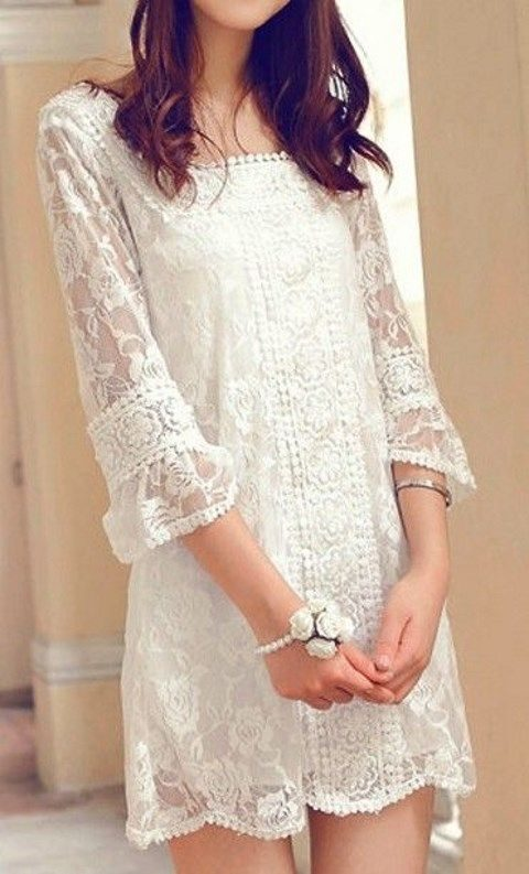 white lace mini dress with half sleeves