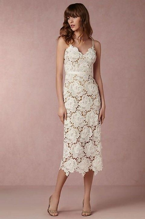 white midi lace floral dress
