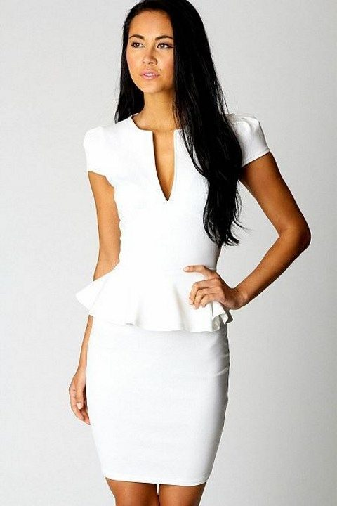 white plain peplum dress with short sleeves