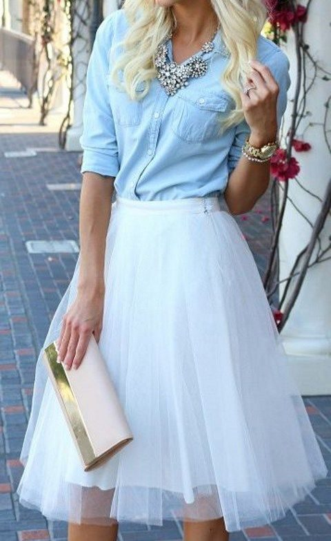 white tulle skirt and a chambray shirt and blush shoes