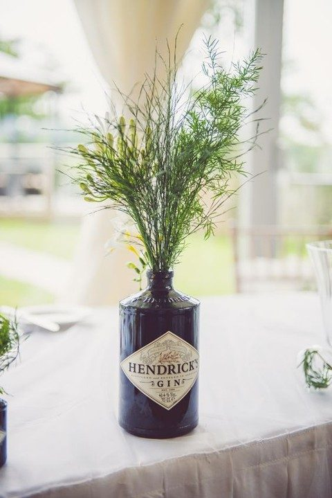 a botanical centerpiece in a usual gin bottle