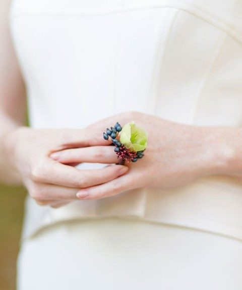 a fresh flower ring is a unique alternative to a usual one