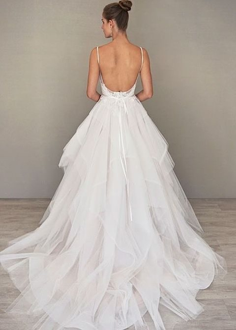 ballgown with a layered tulle skirt and a small train