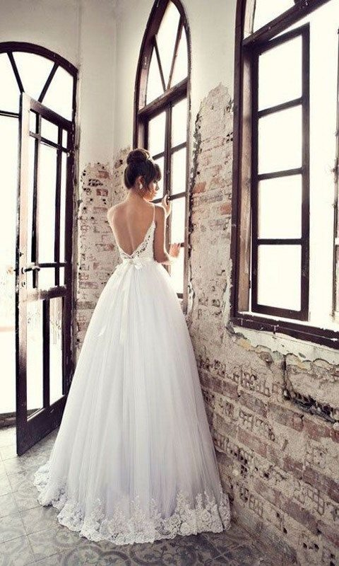 ballgown with spaghetti straps and lace rim