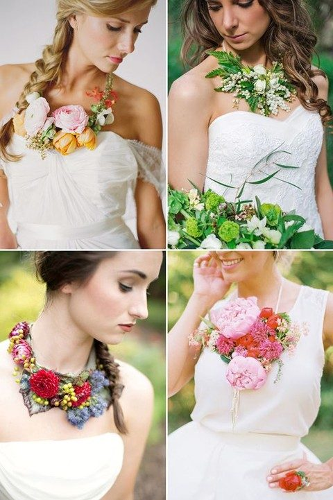 beautiful wearable flower necklaces for the brides