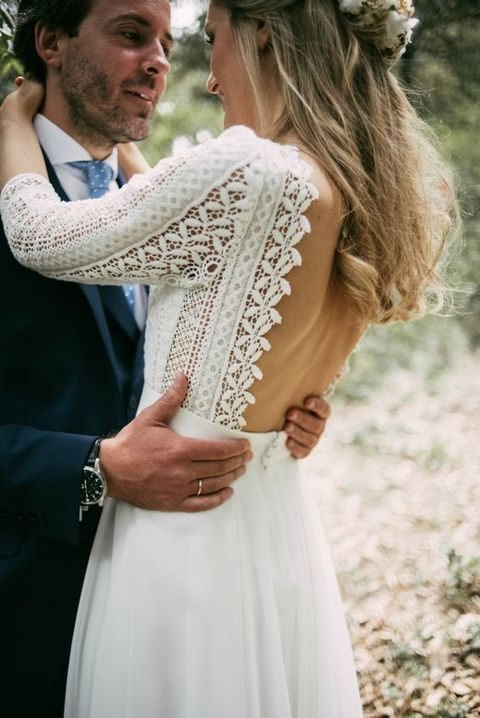 boho lace gown with half sleeves and a flowy plain skirt