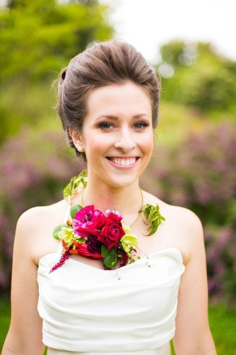 bold flower and greenery necklace for the bride