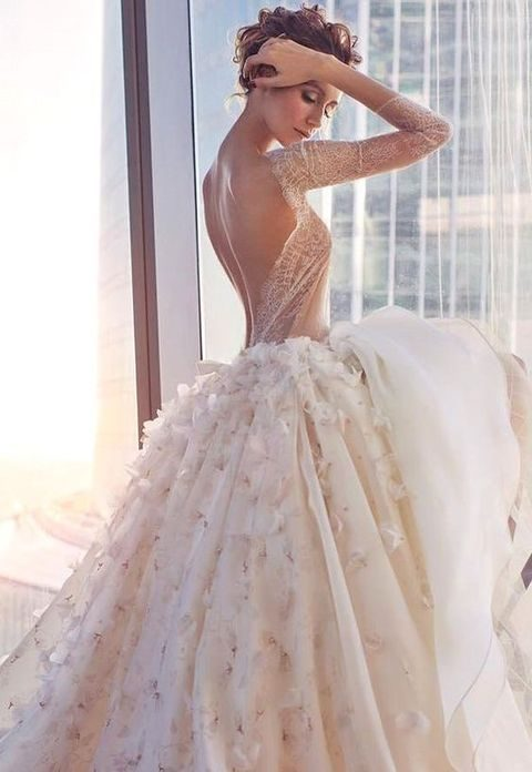 42 backless wedding dresses that wow happywedd floral applique ballgown with an ethereal bodice and half sleeves junglespirit Gallery