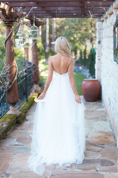 flowy and airy wedding dress with thin straps