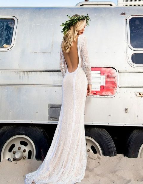 flowy boho lace gown with long sleeves