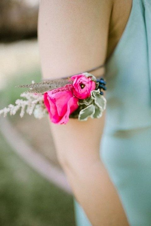flroal arm bracelets for the bridesmaids