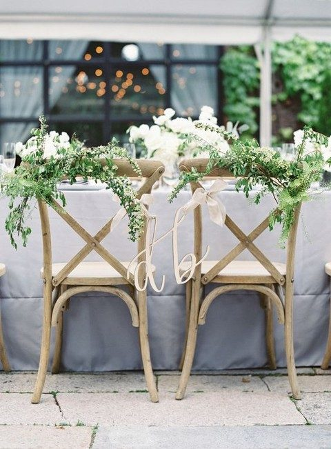 greenery and flower wedding chair posies