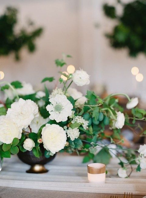 greenery and neutral flowers centerpiece
